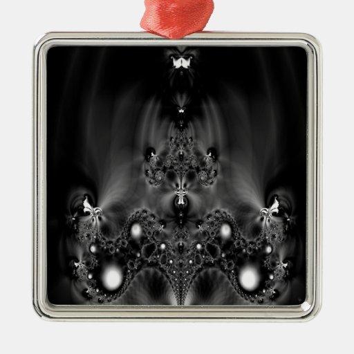 Imagen de espejo oscura fresca abstracta adorno cuadrado plateado