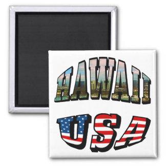Imagen de Hawaii y texto de la bandera de los E.E. Iman Para Frigorífico
