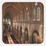 Imagen de HDR del interior de la basílica, Quito,  Calcomanías Cuadradass