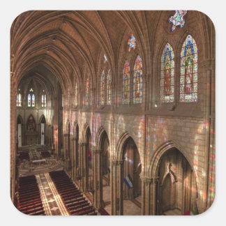Imagen de HDR del interior de la basílica, Quito, Pegatina Cuadrada