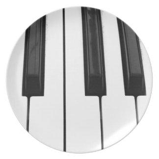 Imagen de imagen blanca negra de la llave de tecla plato de cena