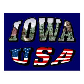Imagen de Iowa y texto de la bandera de los Tarjeta Postal