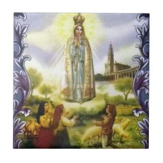 imagen de la aparición nuestra señora de Fátima Azulejo Cuadrado Pequeño