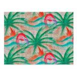Imagen de la arpillera de la palmera del flamenco postal