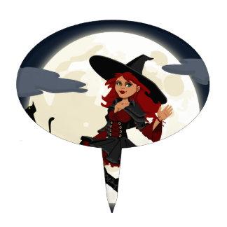 Imagen de la bruja y del gato negro figuras para tartas