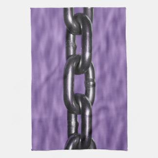 Imagen de la cadena en fondo púrpura toalla de cocina