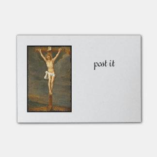 Imagen de la crucifixión del vintage post-it® notas
