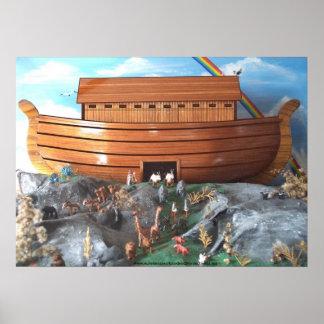 Imagen de la diorama de la arca de Noahs Póster