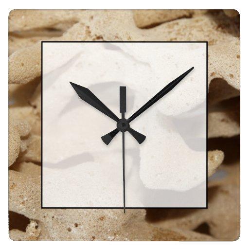 Imagen de la esponja del mar reloj cuadrado