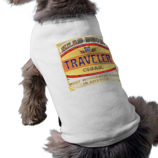Imagen de la etiqueta del cigarro del viajero playera sin mangas para perro