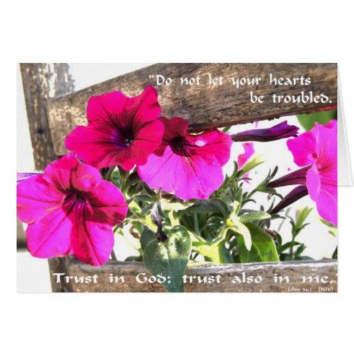 Imagen de la flor con escritura del 14:1 de Juan Tarjetas