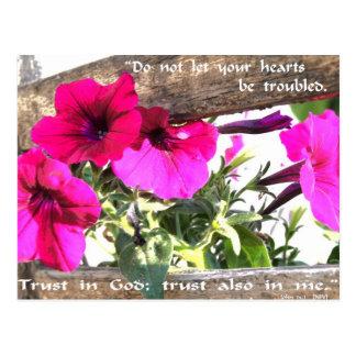 Imagen de la flor con escritura del 14:1 de Juan Tarjeta Postal