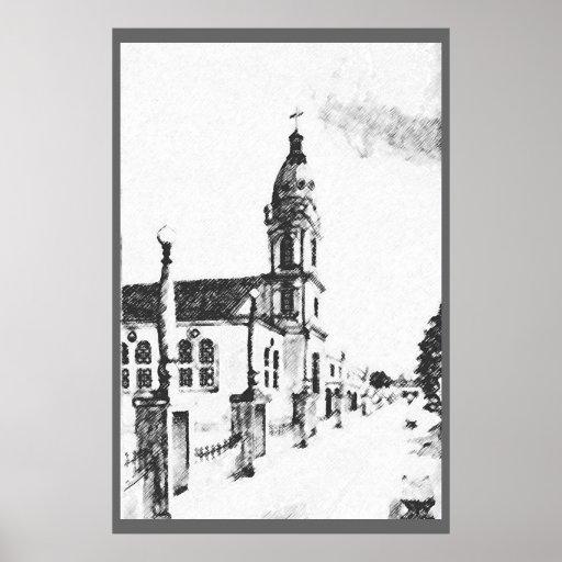 Imagen de la iglesia en carbón de leña impresiones