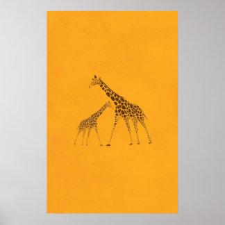 Imagen de la jirafa del animal salvaje poster