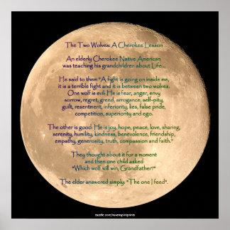 Imagen de la luna con el poster CHEROKEE del arte