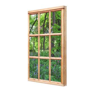 Imagen de la opinión de la ventana del efecto del impresión en lienzo
