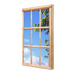 Imagen de la opinión del cielo azul y de la ventan lona estirada galerías