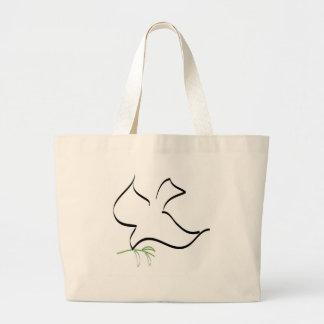 Imagen de la paloma y de la rama de olivo bolsa tela grande