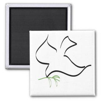 Imagen de la paloma y de la rama de olivo imanes de nevera