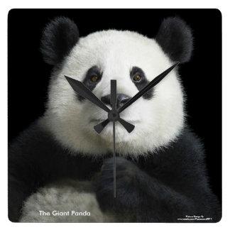 Imagen de la panda para el Cuadrado-Pared-Reloj Reloj Cuadrado