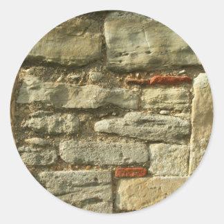 Imagen de la pared de piedra pegatina redonda