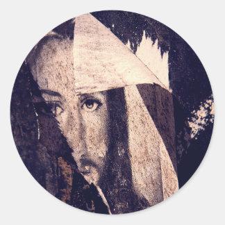 Imagen de la pintada de Jesús del Grunge Etiqueta Redonda