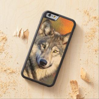 Imagen de la pintura del arte del lobo funda de iPhone 6 bumper arce