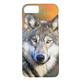 Imagen de la pintura del arte del lobo funda iPhone 7