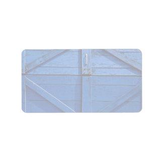Imagen de la puerta de madera azul etiqueta de dirección
