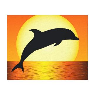 Imagen de la puesta del sol del delfín en lona env lienzo envuelto para galerias