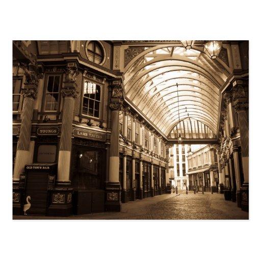 Imagen de la sepia del mercado Londres de Leadenha Tarjeta Postal