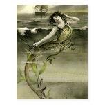 Imagen de la sirena del vintage postales