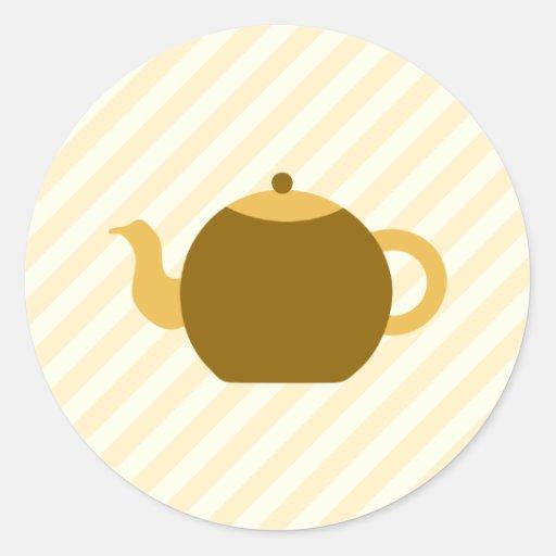 Imagen de la tetera de Brown en rayas beige Pegatina Redonda