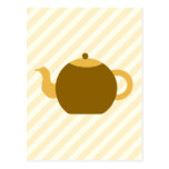 Imagen de la tetera de Brown en rayas beige Postales