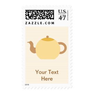 Imagen de la tetera en colores neutrales timbres postales