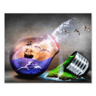 Imagen de la tortuga y de la nave de mar de la fotografía