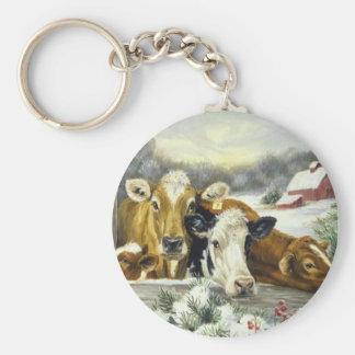 Imagen de la vaca del vintage llavero redondo tipo pin