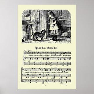 Imagen de las poesías infantiles del vintage - gat póster