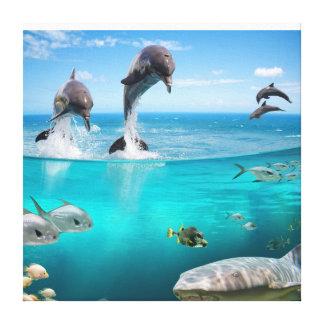 Imagen de los delfínes de la fantasía en lona impresiones en lona estiradas