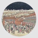 Imagen de los lugares famosos Japón por Utagawa, Pegatinas Redondas