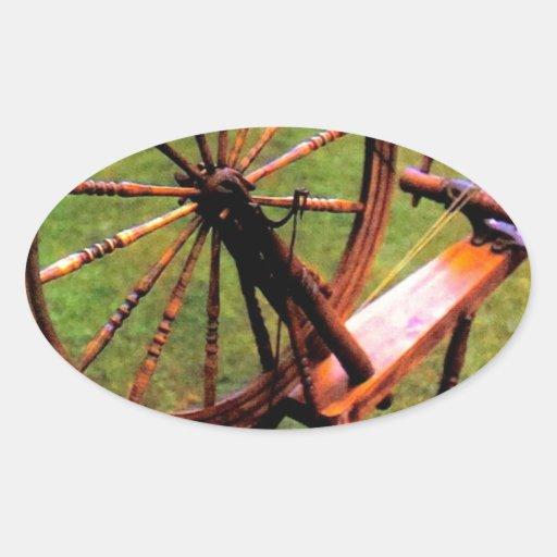 Imagen de madera de la foto de la rueda de hilado pegatina de oval personalizadas