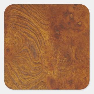 Imagen de madera natural del grano con remolinos pegatina cuadrada