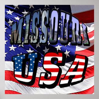 Imagen de Missouri y texto de los E.E.U.U. Póster