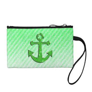 Imagen de moda del ancla verde del brillo en rayas