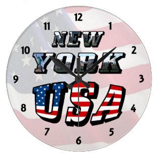 Imagen de Nueva York y reloj del texto de los E.E.