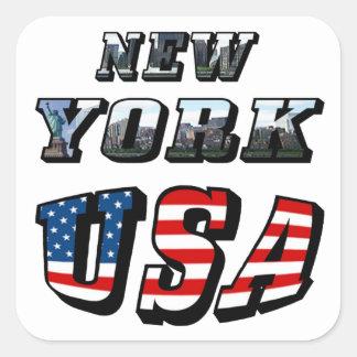 Imagen de Nueva York y texto de los E.E.U.U. Colcomanias Cuadradass