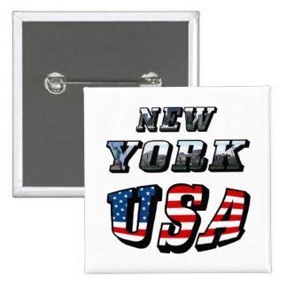 Imagen de Nueva York y texto de los E.E.U.U. Pin Cuadrado