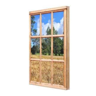 Imagen de oro de la opinión de la ventana del efec impresión de lienzo