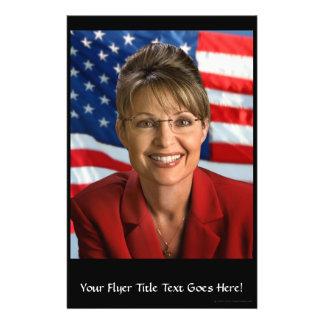 Imagen de Sarah Palin con la bandera que agita Tarjetones