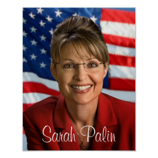 Imagen de Sarah Palin con la bandera que agita Impresiones